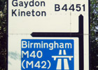 Image of road sign to Gaydon